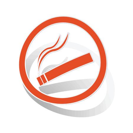 smoking place: Smoking sign sticker, orange circle with image inside, on white background
