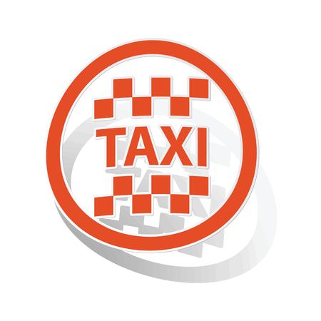 chequer: Taxi sign sticker, orange circle with image inside, on white background