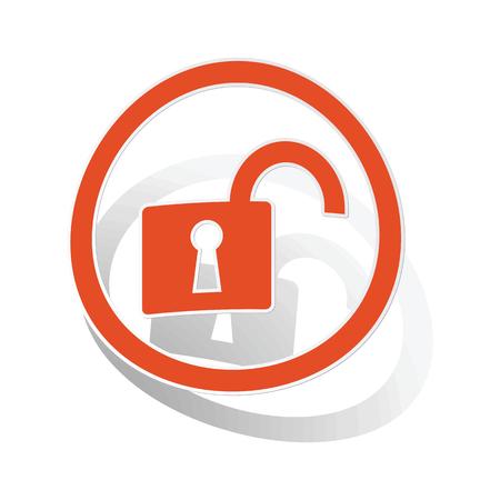 Unlocked sign sticker, orange circle with image inside, on white background Illustration