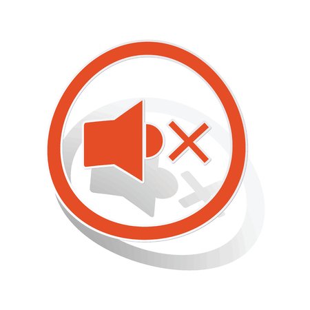 muted: Muted sound sign sticker, orange circle with image inside, on white background