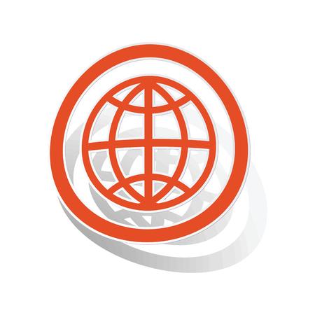 parallel world: Globe sign sticker, orange circle with image inside, on white background Illustration