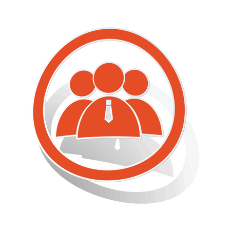 user icon: User group sign sticker, orange circle with image inside, on white background