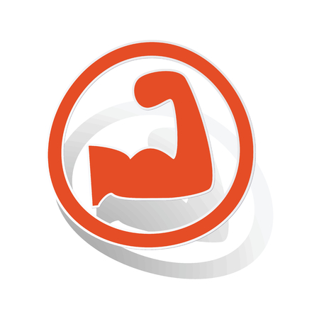 powerlifting: Powerlifting sign sticker, orange circle with image inside, on white background