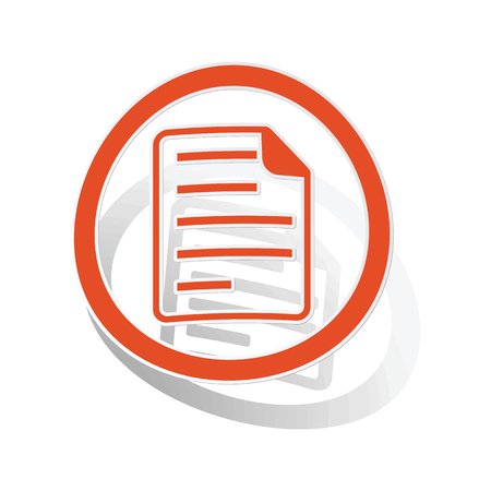 article writing: File sign sticker, orange circle with image inside, on white background Illustration