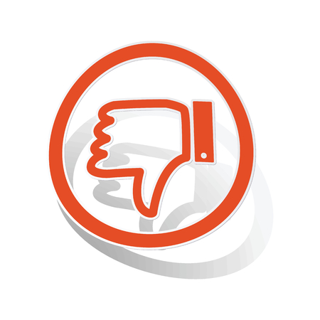 disapproval: Dislike sign sticker, orange circle with image inside, on white background