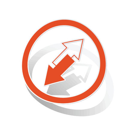 opposite arrows: Opposite arrows sign sticker, orange circle with image inside, on white background
