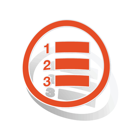 enumerated: Numbered list sign sticker, orange circle with image inside, on white background