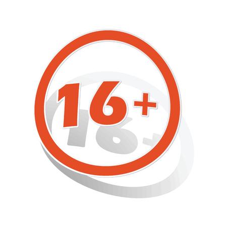 parental control: 16 plus sign sticker, orange circle with image inside, on white background Illustration