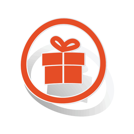 unexpected: Gift sign sticker, orange circle with image inside, on white background
