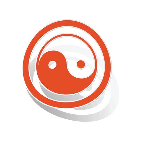 Ying yang sign sticker, orange circle with image inside, on white background