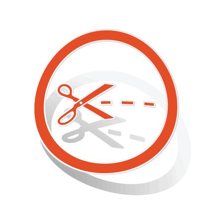 slit: Cut sign sticker, orange circle with image inside, on white background Illustration