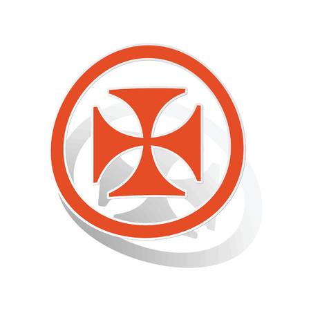 germanic people: Maltese cross sign sticker, orange circle with image inside, on white background