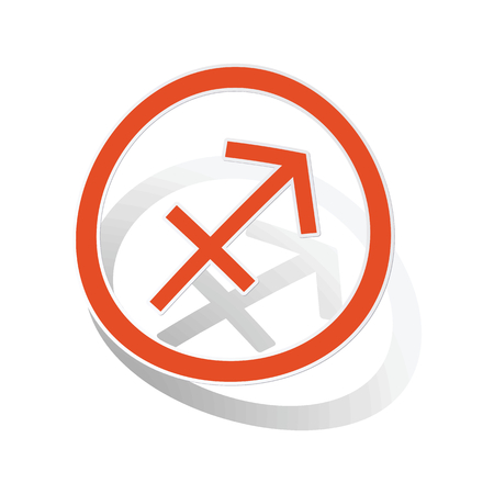 ecliptic: Sagittarius sign sticker, orange circle with image inside, on white background Illustration