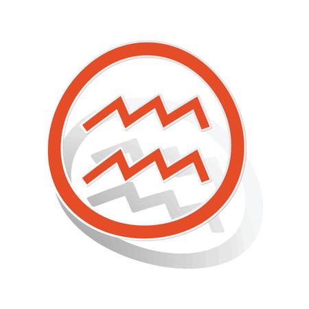Aquarius sign sticker, orange circle with image inside, on white background