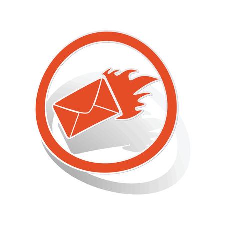 meaningful: Burning envelope sign sticker, orange circle with image inside, on white background