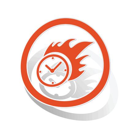 bounds: Burning clock sign sticker, orange circle with image inside, on white background Illustration