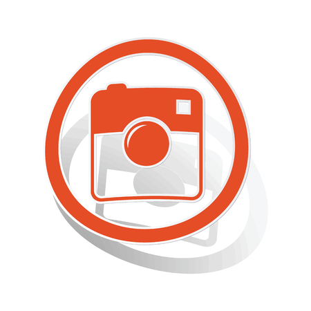 microblog: Square camera sign sticker, orange circle with image inside, on white background Illustration