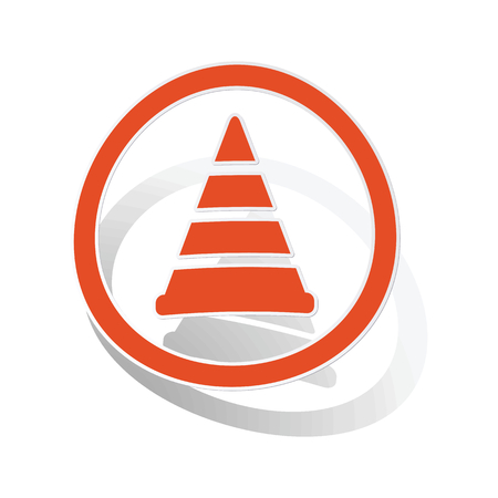 Traffic cone sign sticker, orange circle with image inside, on white background