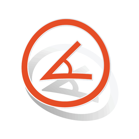 endpoint: Angle sign sticker, orange circle with image inside, on white background