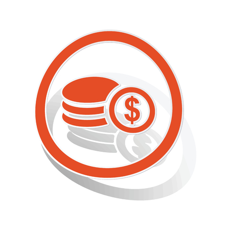 rouleau: Dollar rouleau sign sticker, orange circle with image inside, on white background