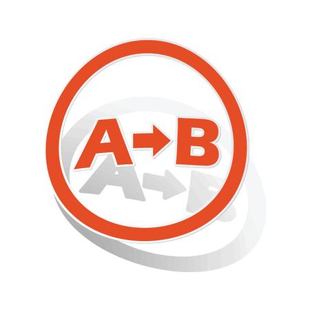 derivation: A-B logic sign sticker, orange circle with image inside, on white background Illustration
