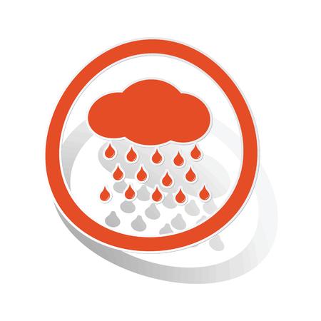 drizzle: Rain sign sticker, orange circle with image inside, on white background