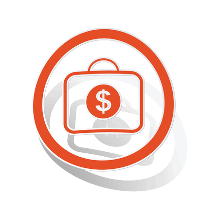 dollar bag: Dollar bag sign sticker, orange circle with image inside, on white background