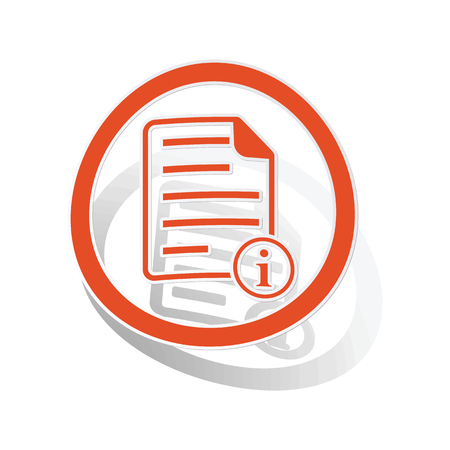 Information document sign sticker, orange circle with image inside, on white background