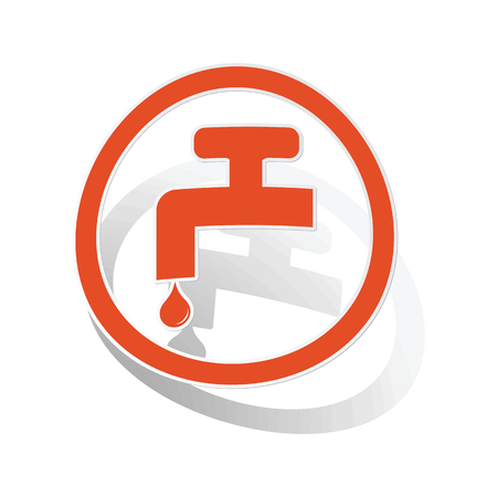 sanitary engineering: Water tap sign sticker, orange circle with image inside, on white background Illustration