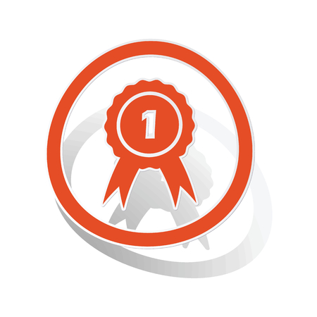 corroboration: First place sign sticker, orange circle with image inside, on white background