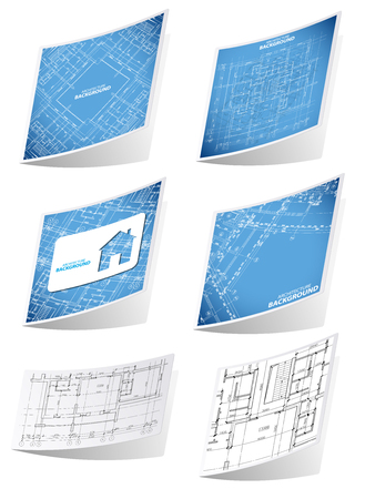 edifice: Architecture background sticker set, with blueprints, isolated on white