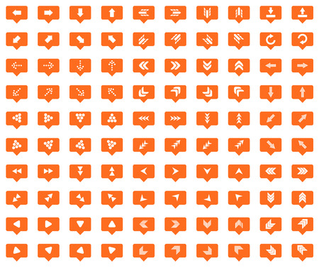 chat bubbles: Arrow orange message icons set, images in filled chat bubbles on white background Illustration