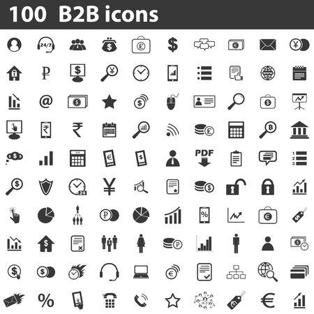 100 B2B icons set, simple black images on white background
