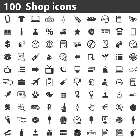 100 Shop icons set, simple black images on white background Vettoriali