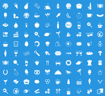 Food  icon set, simple white images on blue background 일러스트