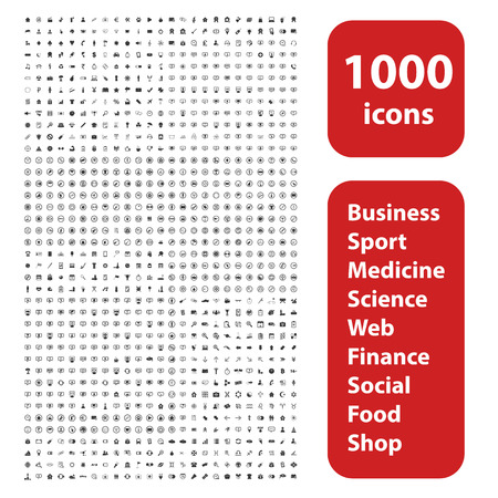 1000 icons set, different black signs and symbols on white background Çizim