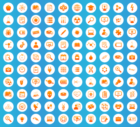 apple clipart: Science icons set, orange image in white circle on blue background Illustration