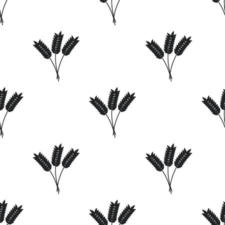 wheat isolated: Wheat ears seamless pattern, black on white background