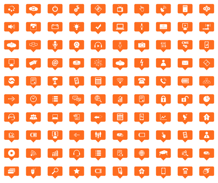 Hi-Tech orange message icons set, images in filled chat bubbles on white background