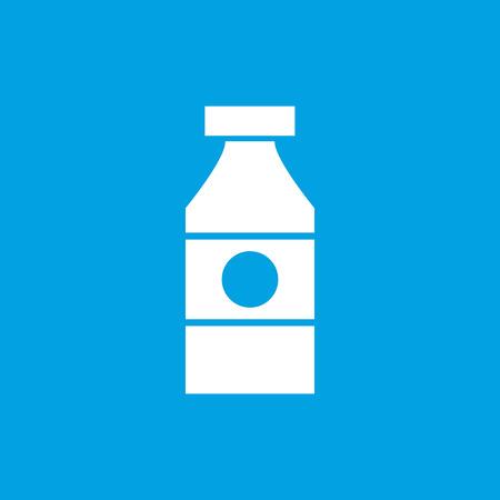 drink bottle: Sauce bottle icon, white simple image isolated on blue background