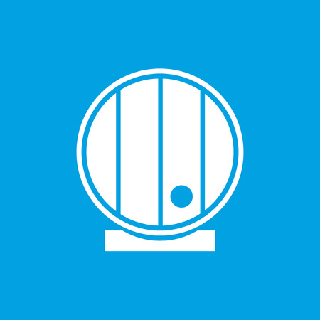 hogshead: Wooden cask icon, white simple image isolated on blue background