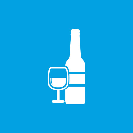facer: Wine icon, white simple image isolated on blue background