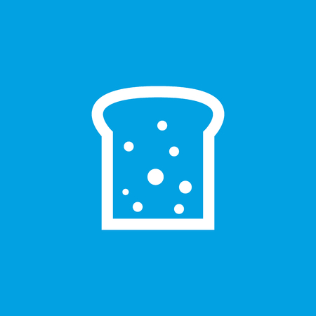 newly baked: Bread slice icon, white simple image isolated on blue background