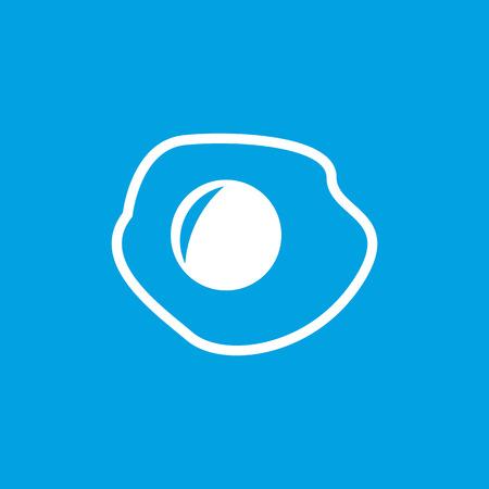 sunnyside: Fried egg icon, white simple image isolated on blue background