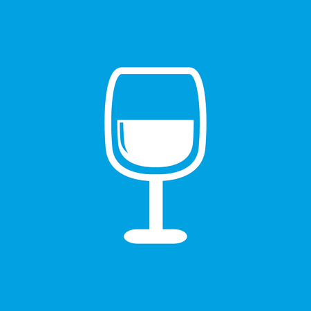facer: Wine glass icon, white simple image isolated on blue background Illustration