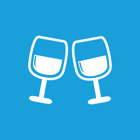 facer: 2 wine glasses icon, white simple image isolated on blue background Illustration