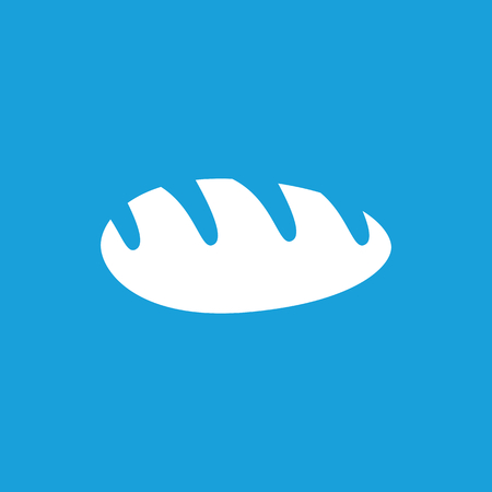 long loaf: Long loaf icon, white simple image isolated on blue background