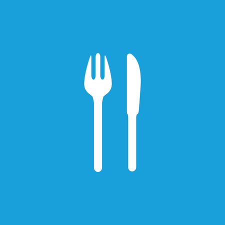 knife and fork: Fork and knife icon, white simple image isolated on blue background