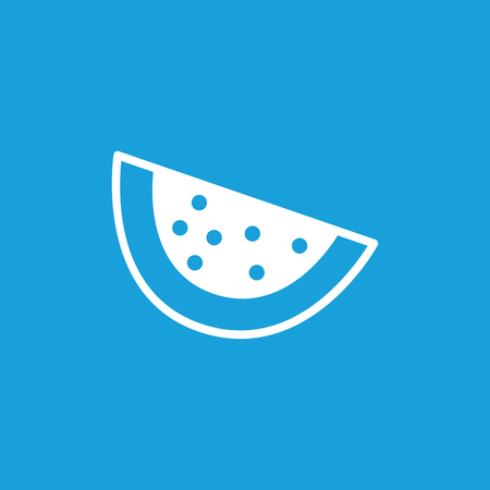 rind: Watermelon slice icon, white simple image isolated on blue background
