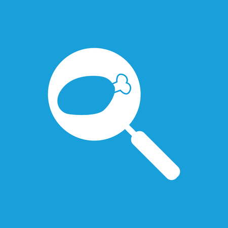 shin: Chicken leg on pan icon, white simple image isolated on blue background Illustration
